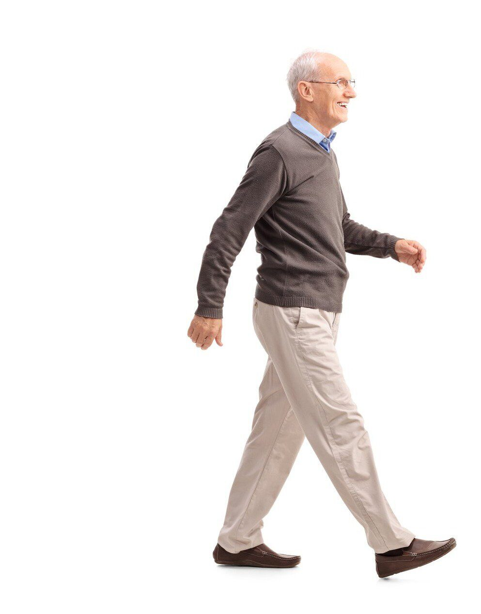 Casual senior man walking and smiling 2